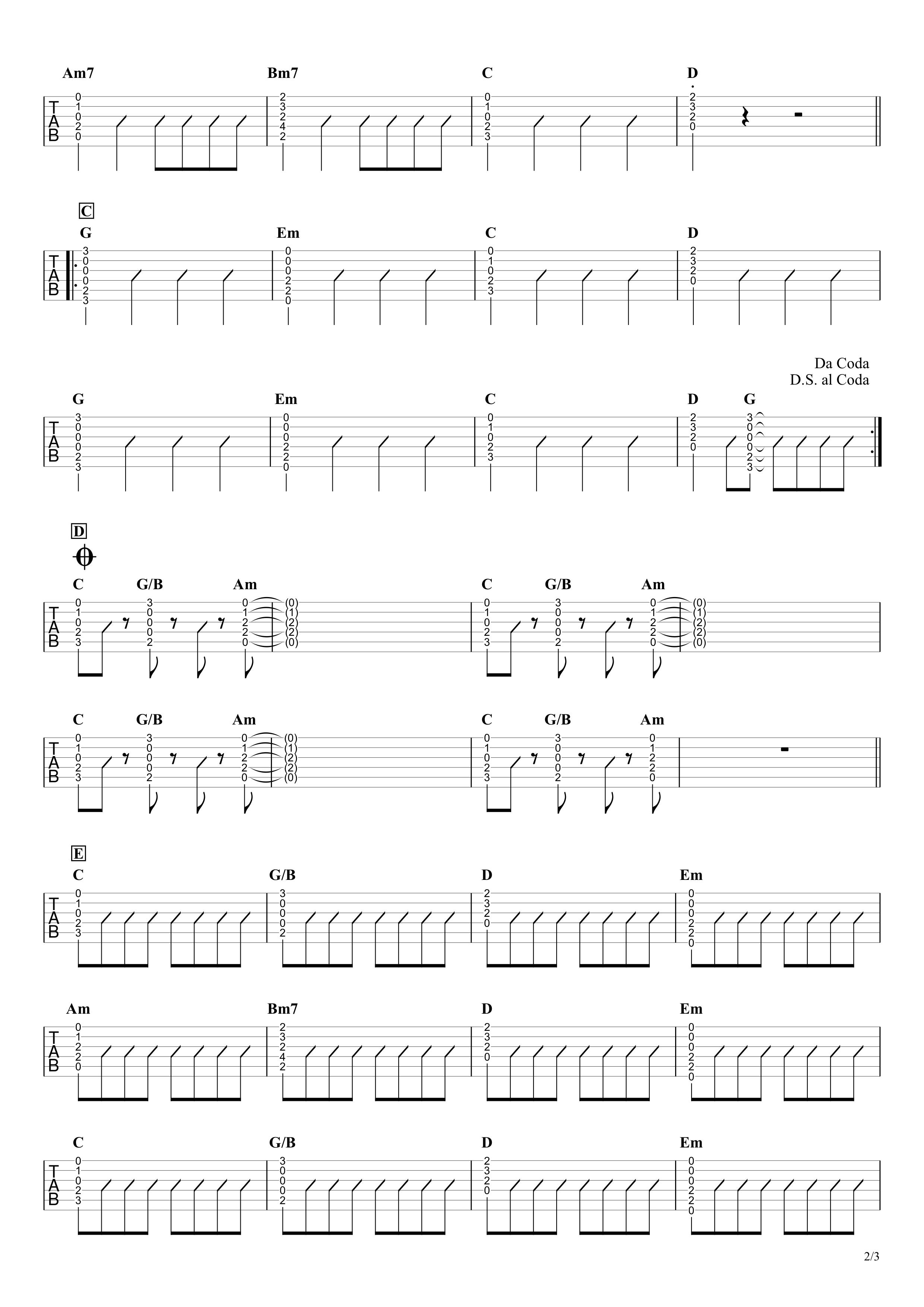 キミに100パーセント/きゃりーぱみゅぱみゅ ギタータブ譜 コードストロークで弾くVer.02