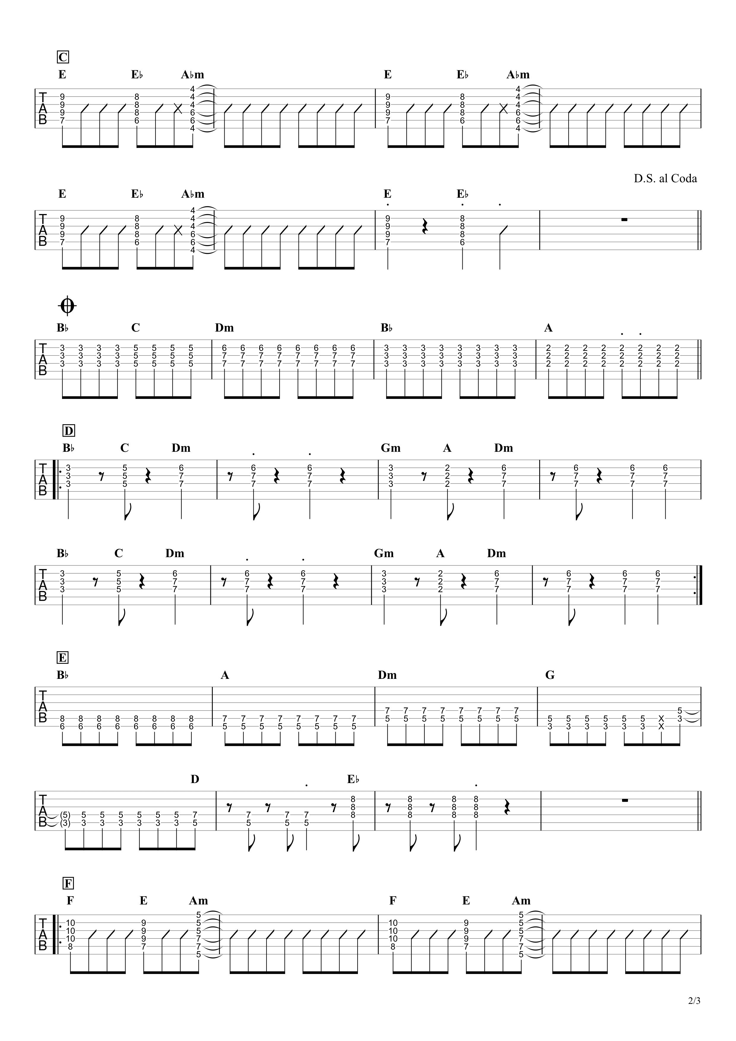 グッバイ宣言/Chinozo ギタータブ譜 コードバッキングVer.02