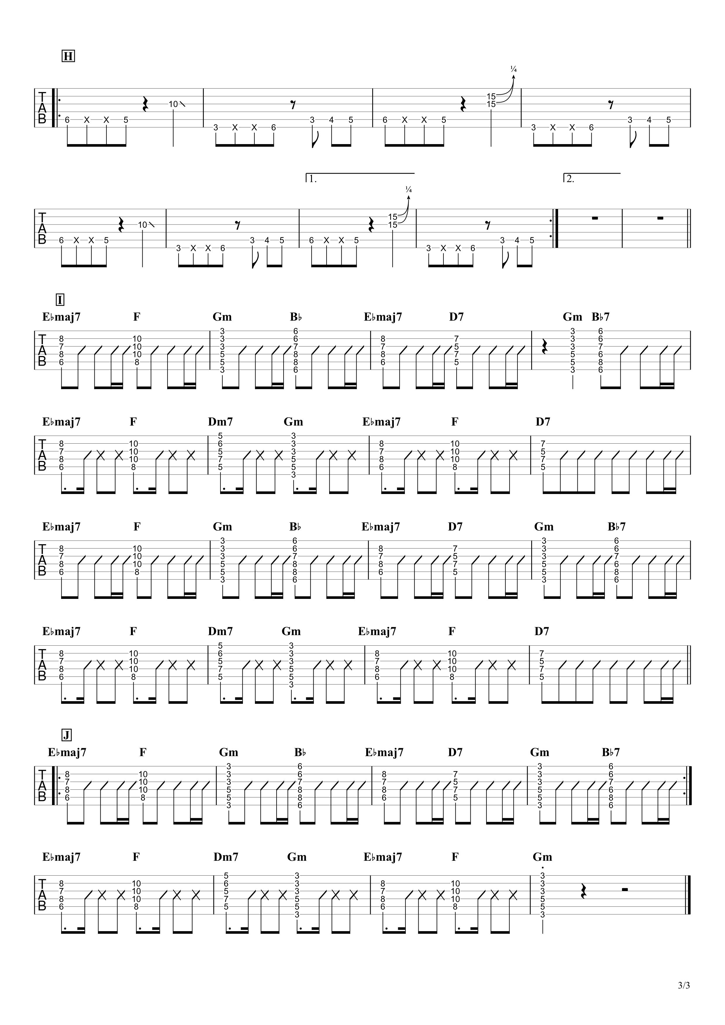 シャルル/バルーン ギタータブ譜 リードギターざっくり完コピVer.03