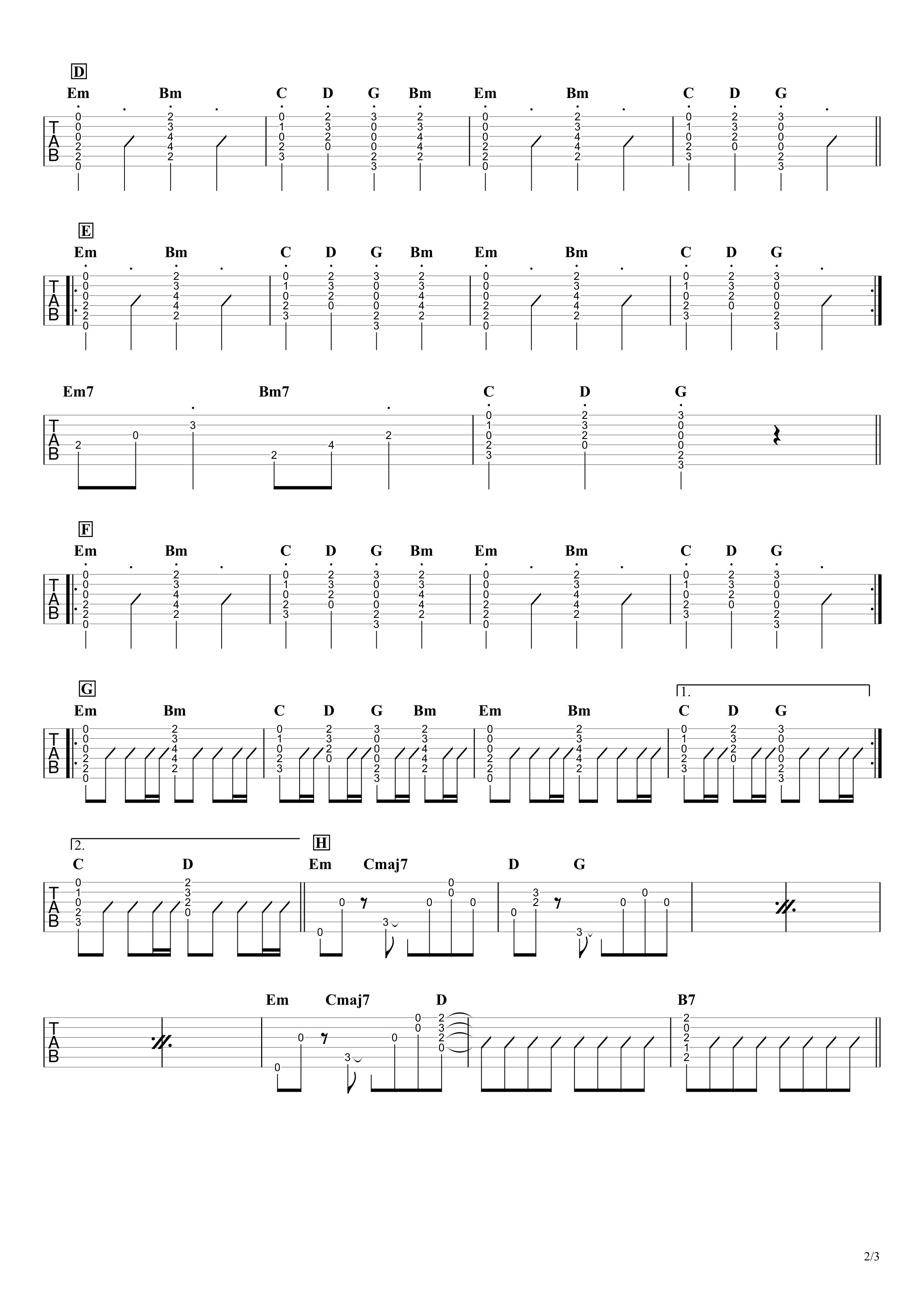 夜明けと蛍/初音ミク(n-buna) ギタータブ譜 コードストロークとアルペジオで弾くVer.02