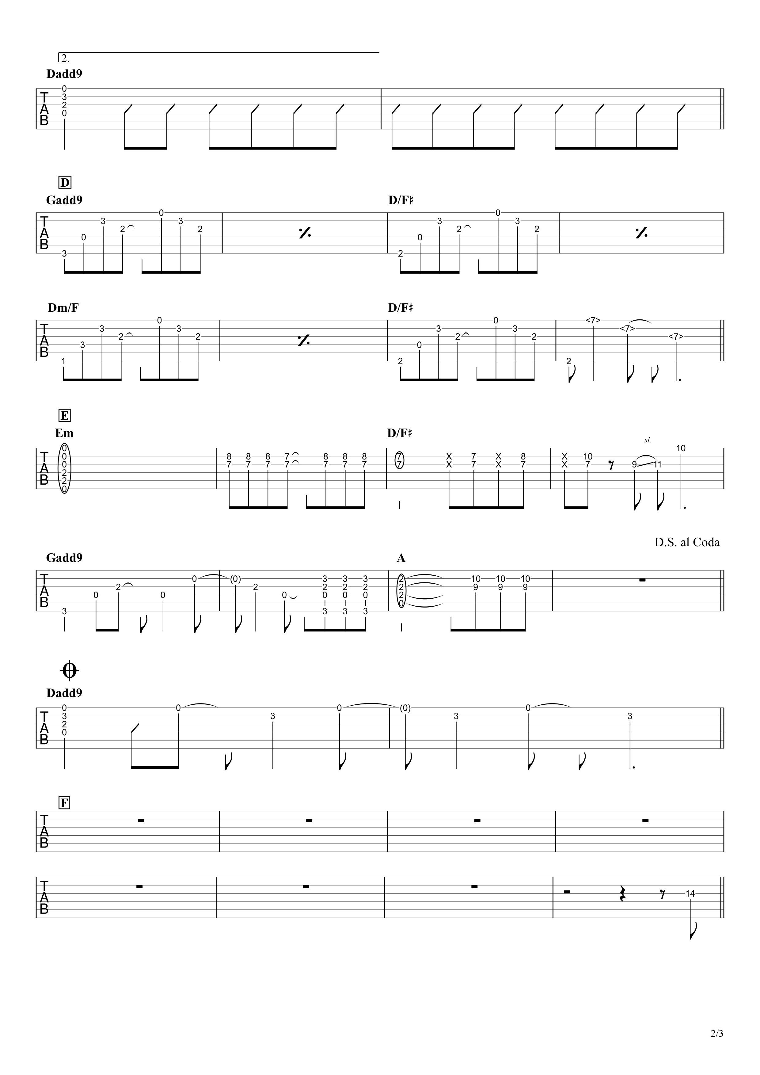 怪獣の花唄/Vaundy ギタータブ譜 アルペジオ&コードストロークで弾くVer.02