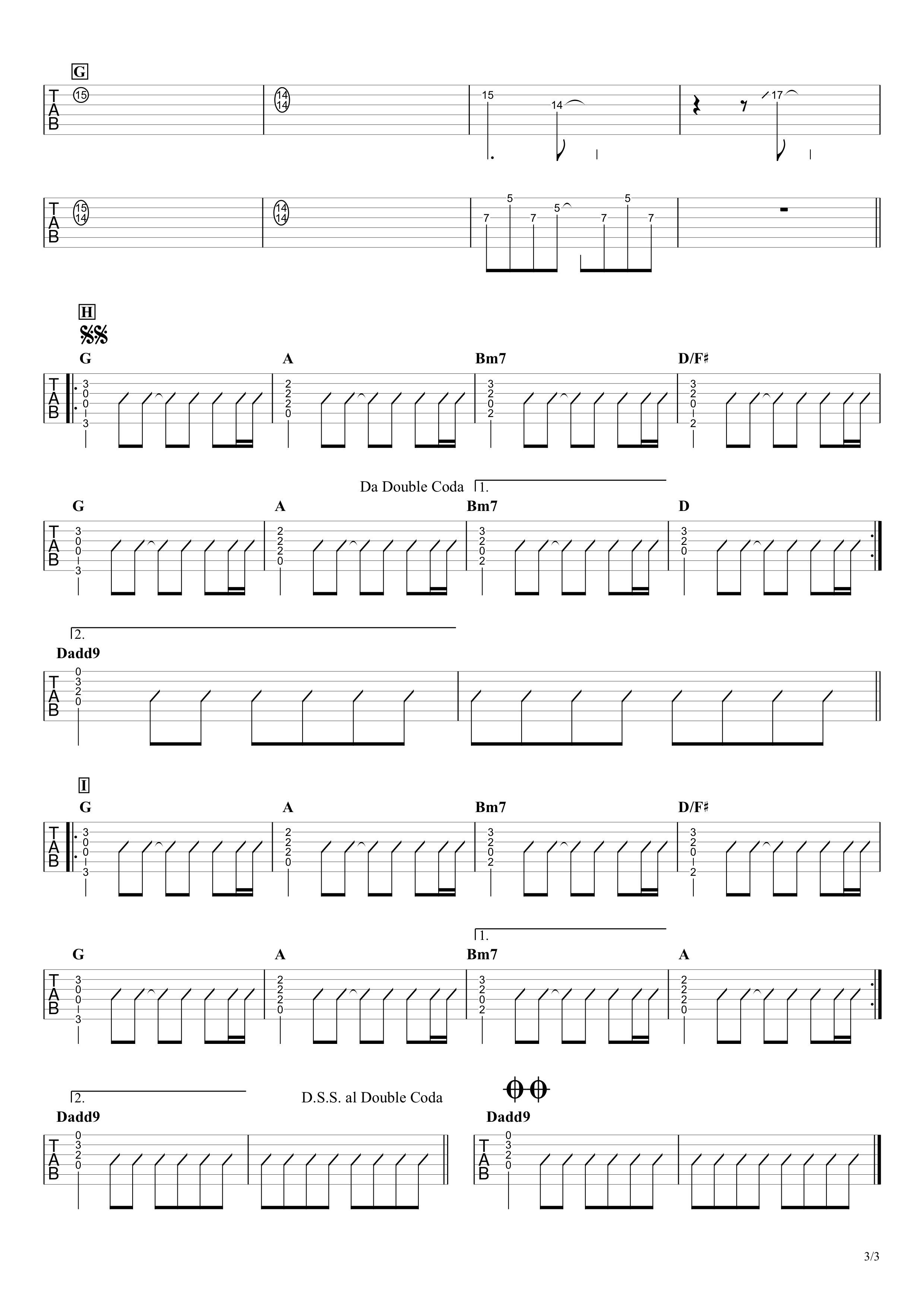 怪獣の花唄/Vaundy ギタータブ譜 アルペジオ&コードストロークで弾くVer.03