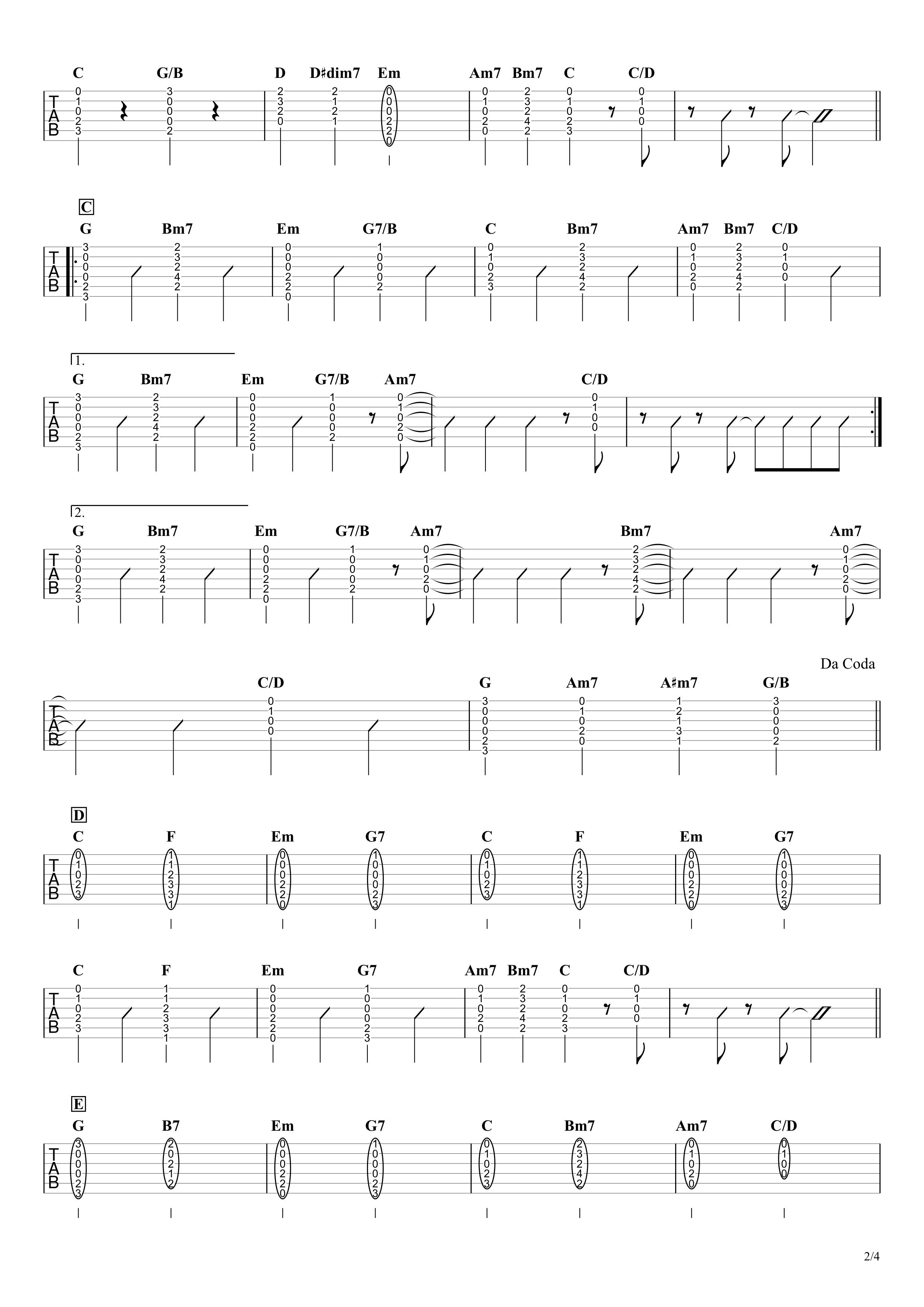 恋/星野源 ギタータブ譜 弾き語り向けコードストロークで弾くVer.02