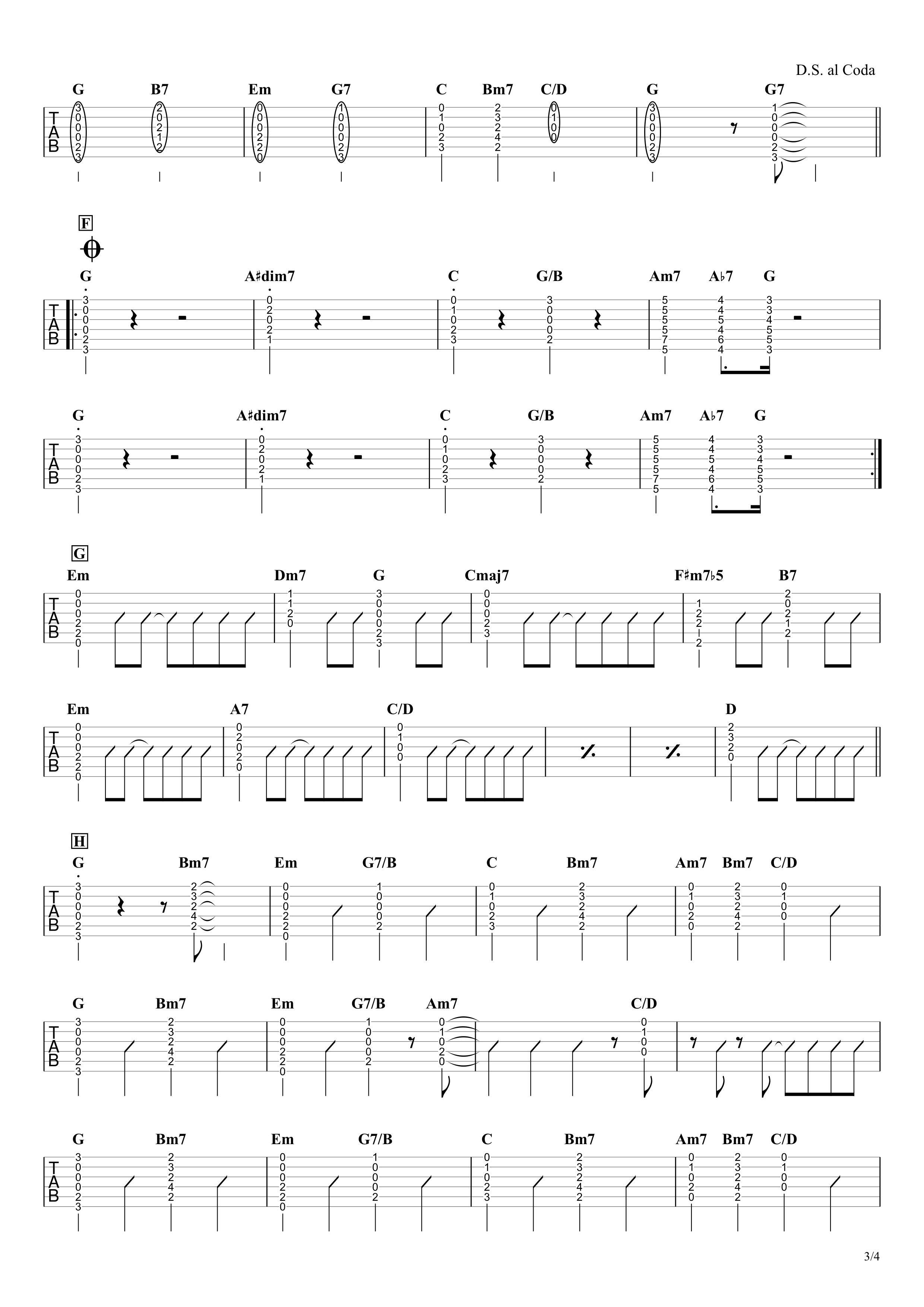 恋/星野源 ギタータブ譜 弾き語り向けコードストロークで弾くVer.03