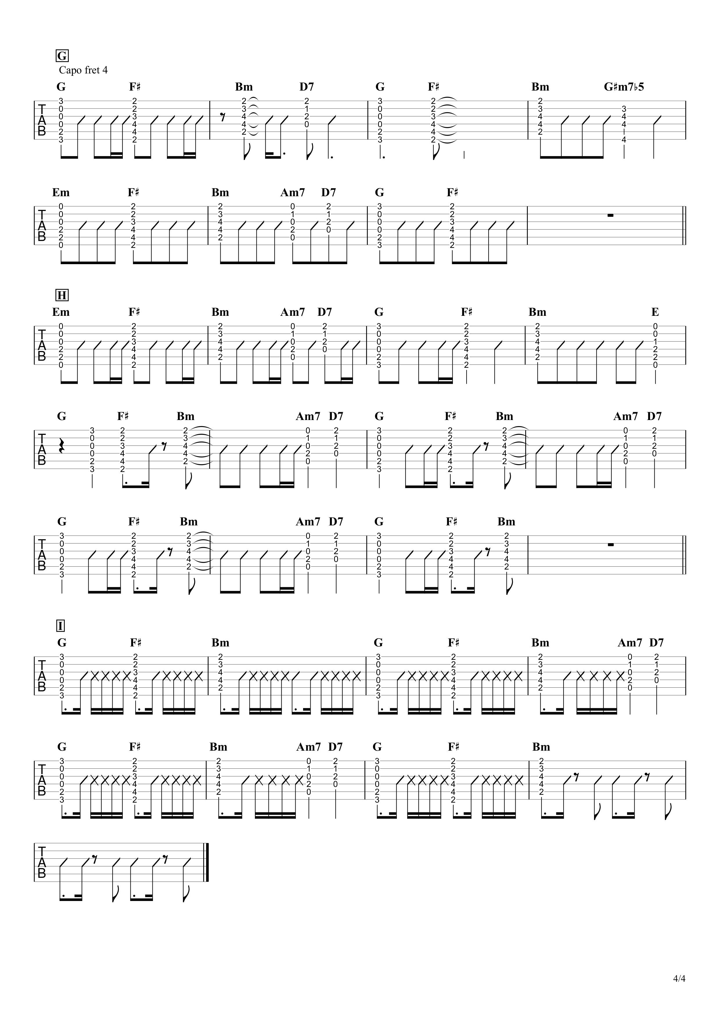 脳裏上のクラッカー/ずっと真夜中でいいのに。 ギタータブ譜 コードストロークで弾くVer.04