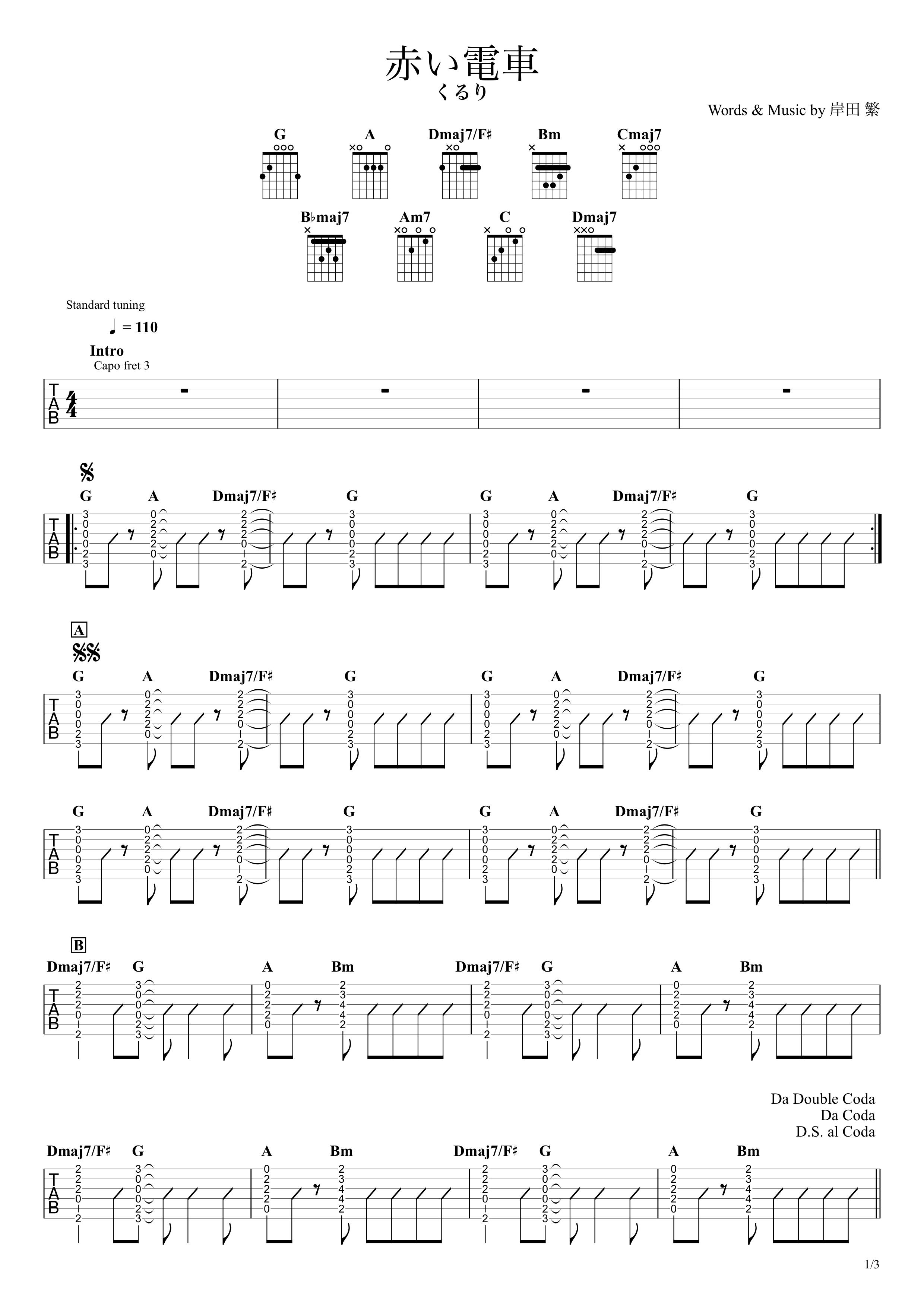 赤い電車/くるり ギタータブ譜 コードストロークで弾くVer.01