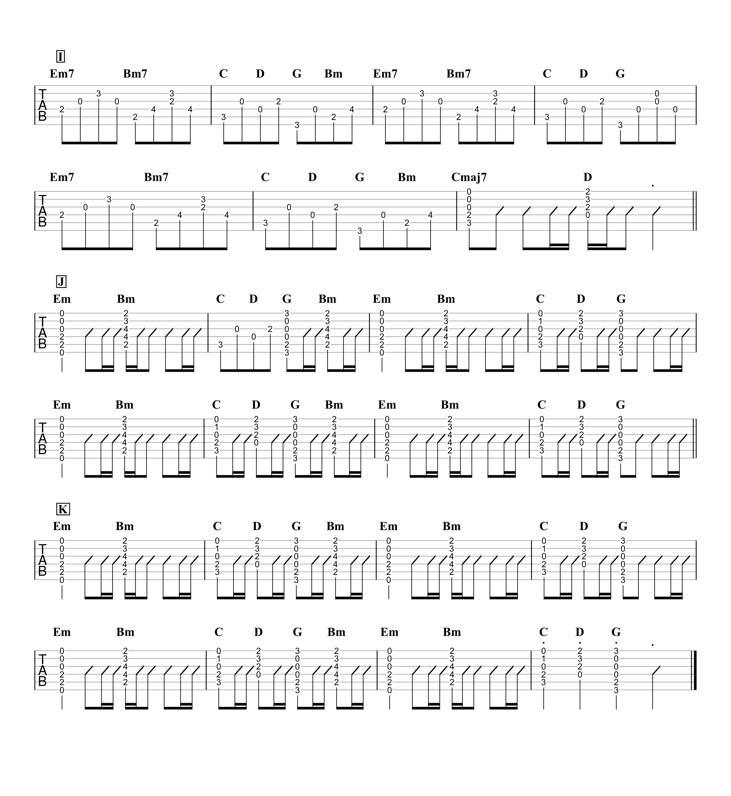 夜明けと蛍/初音ミク(n-buna) ギタータブ譜 コードストロークとアルペジオで弾くVer.03
