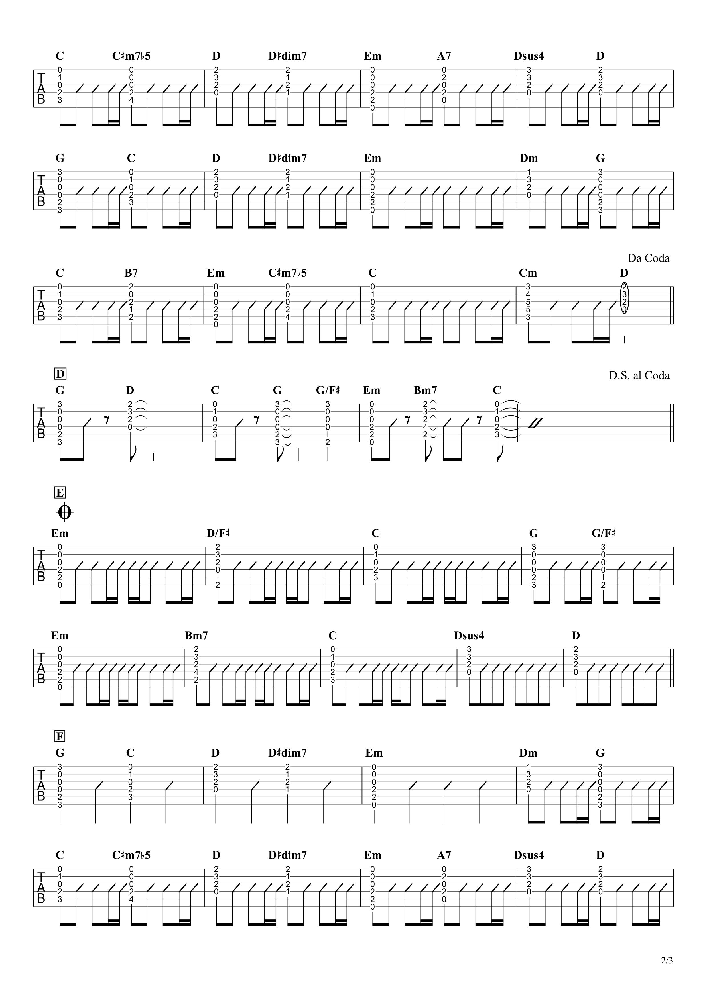 ひまわりの約束/秦基博 ギタータブ譜 簡単コードストロークで弾くVer.02