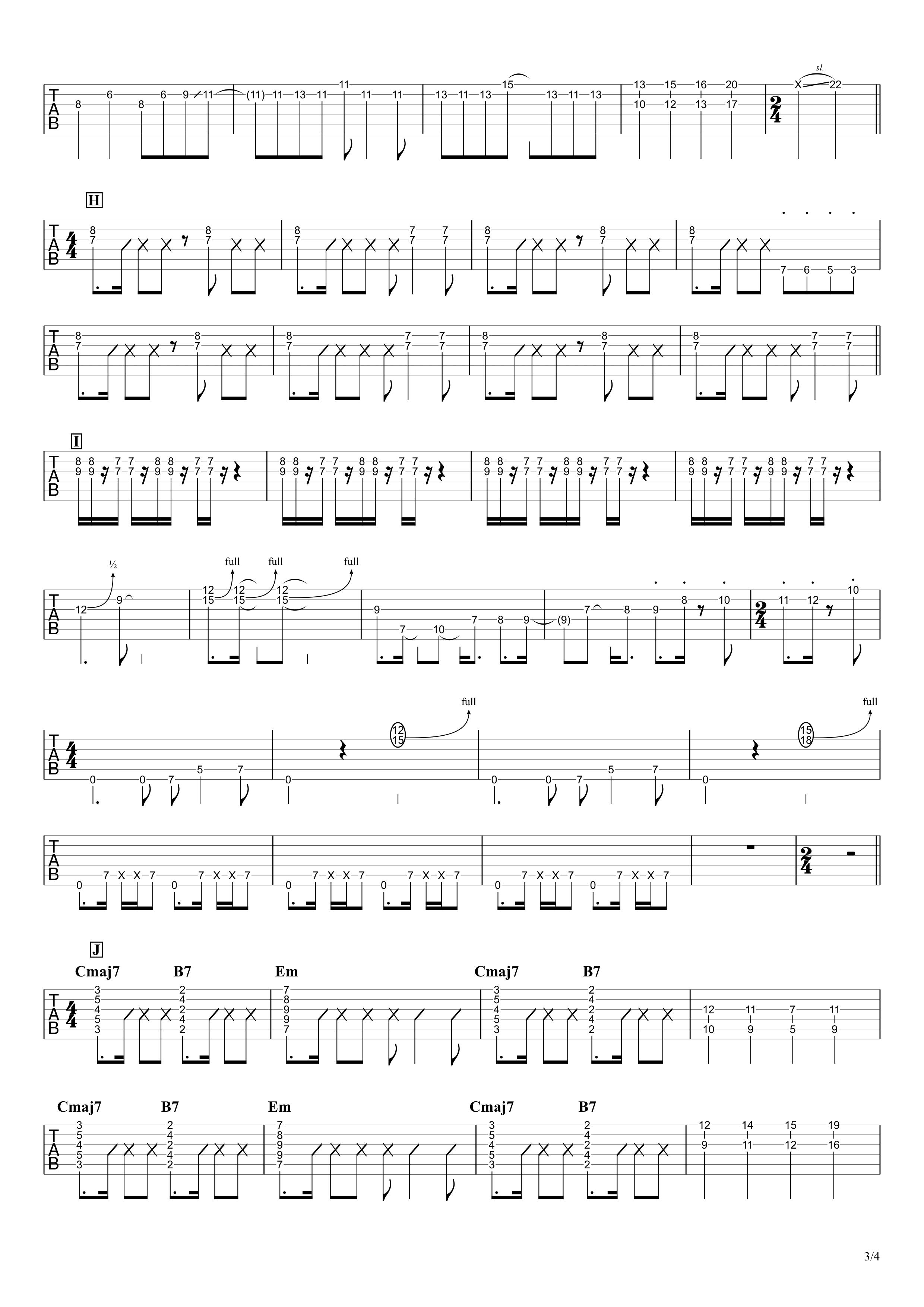 ロキ/みきとP ギタータブ譜 ほぼ完コピVer.03