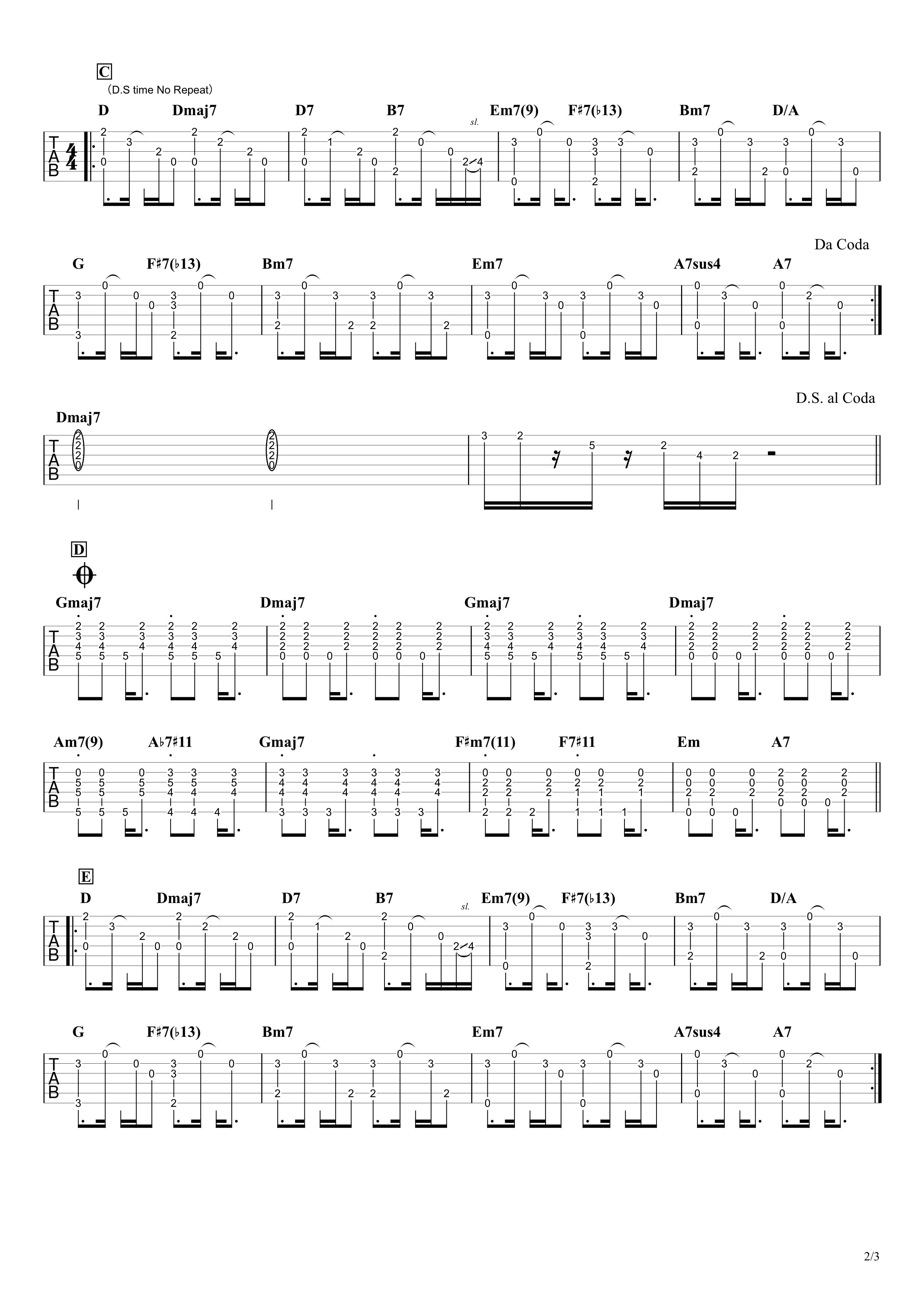 明日の風/山崎まさよし ギタータブ譜 本人アコギざっくり再現Ver.02