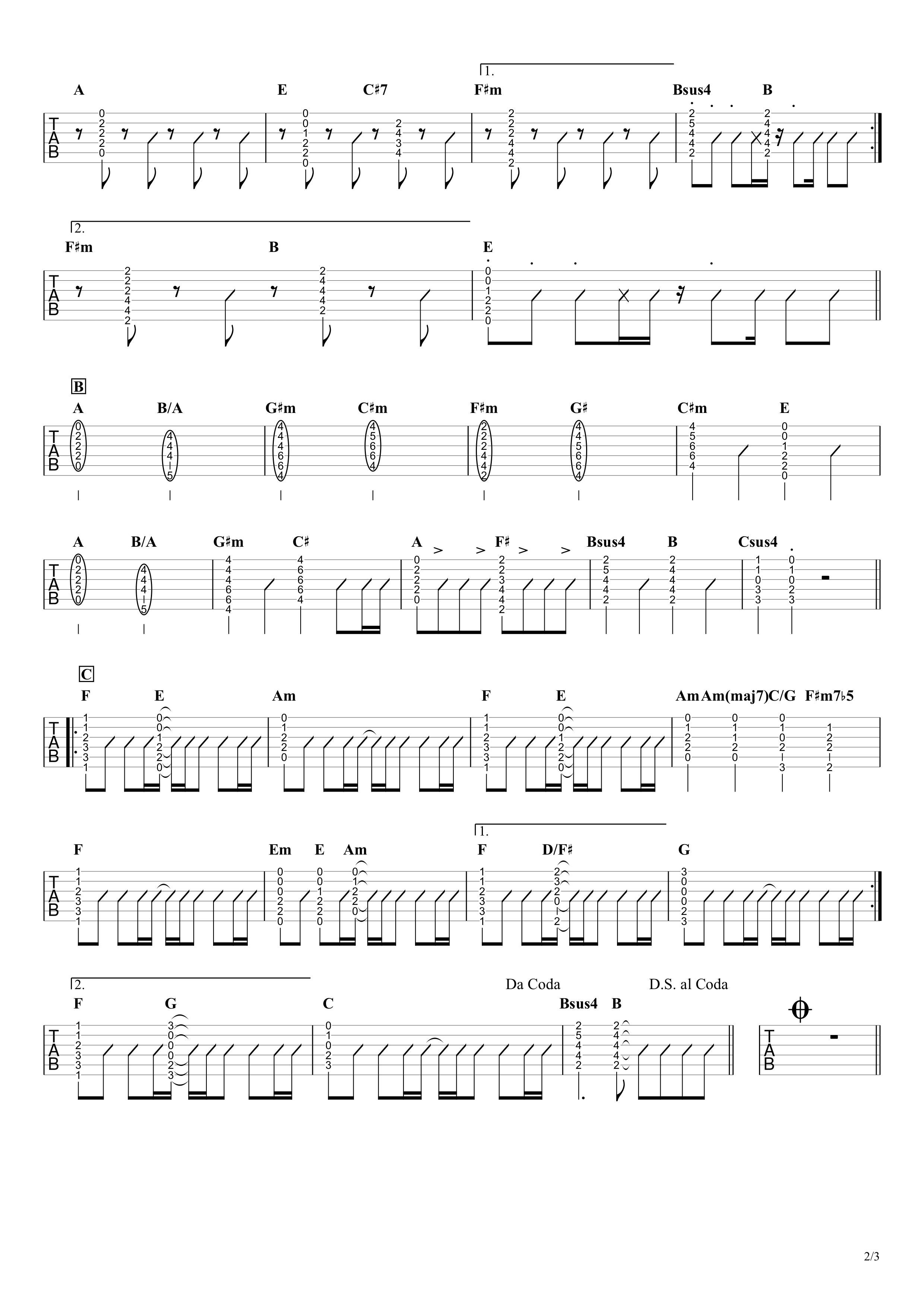 Happiness/嵐 ギタータブ譜 弾き語りOK!コードストロークで弾くアレンジVer.02