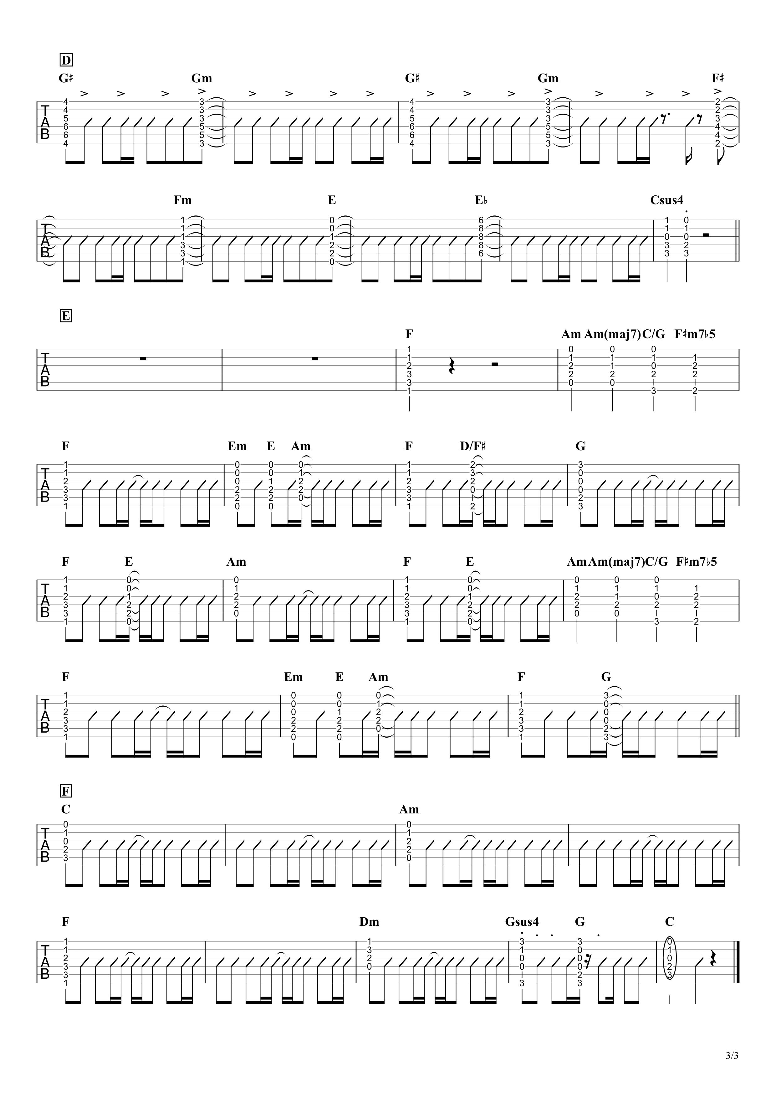 Happiness/嵐 ギタータブ譜 弾き語りOK!コードストロークで弾くアレンジVer.03