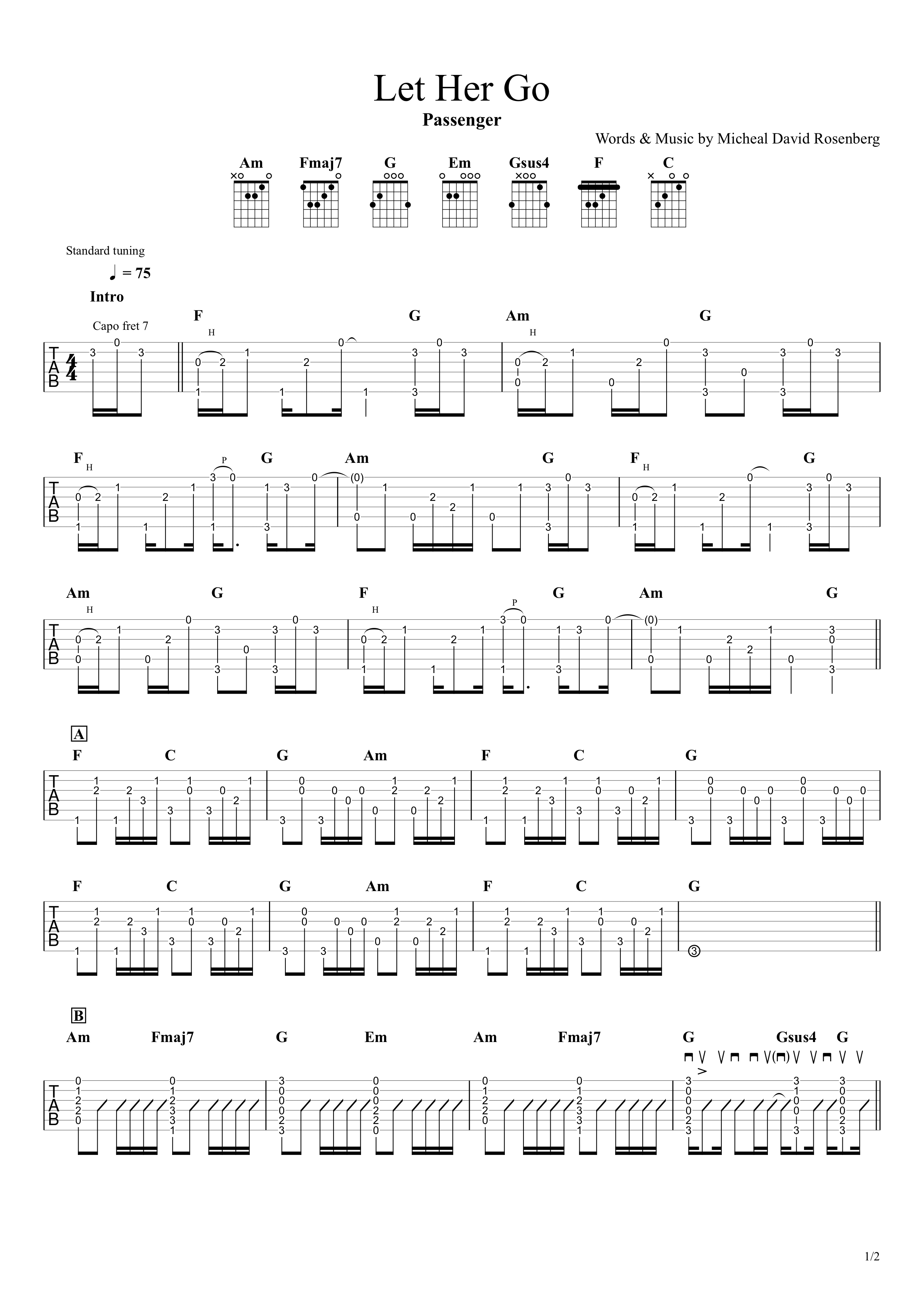 Let Her Go/Passenger ギタータブ譜 アルペジオちょい簡単Ver.01