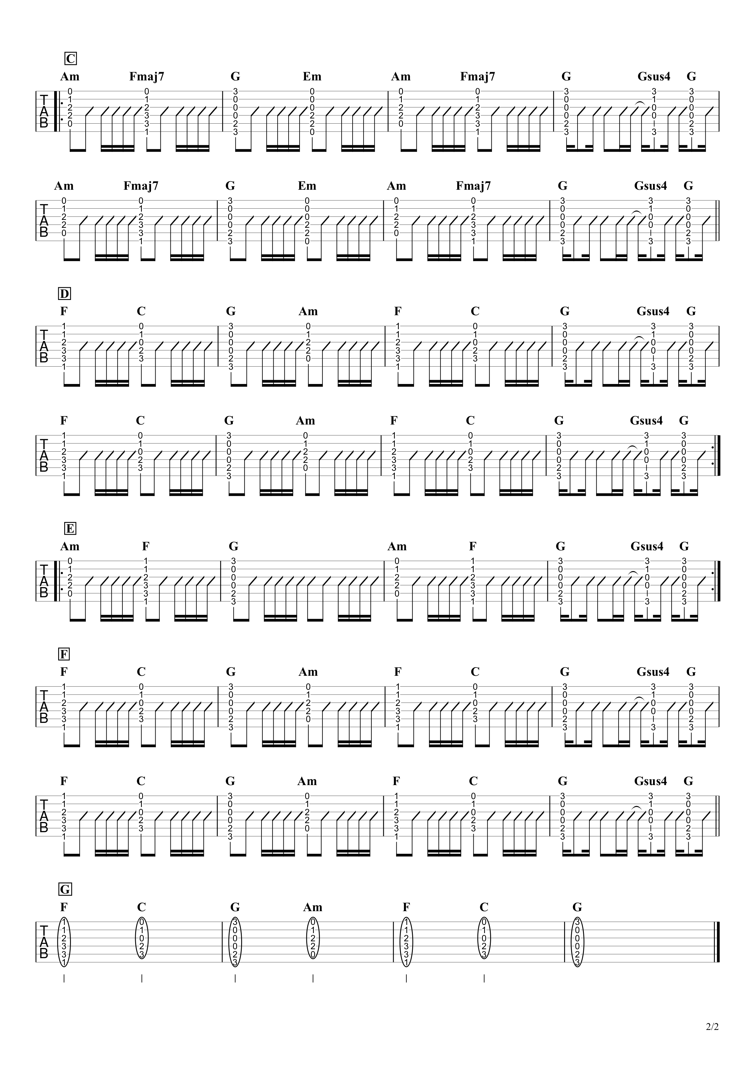 Let Her Go/Passenger ギタータブ譜 アルペジオちょい簡単Ver.02