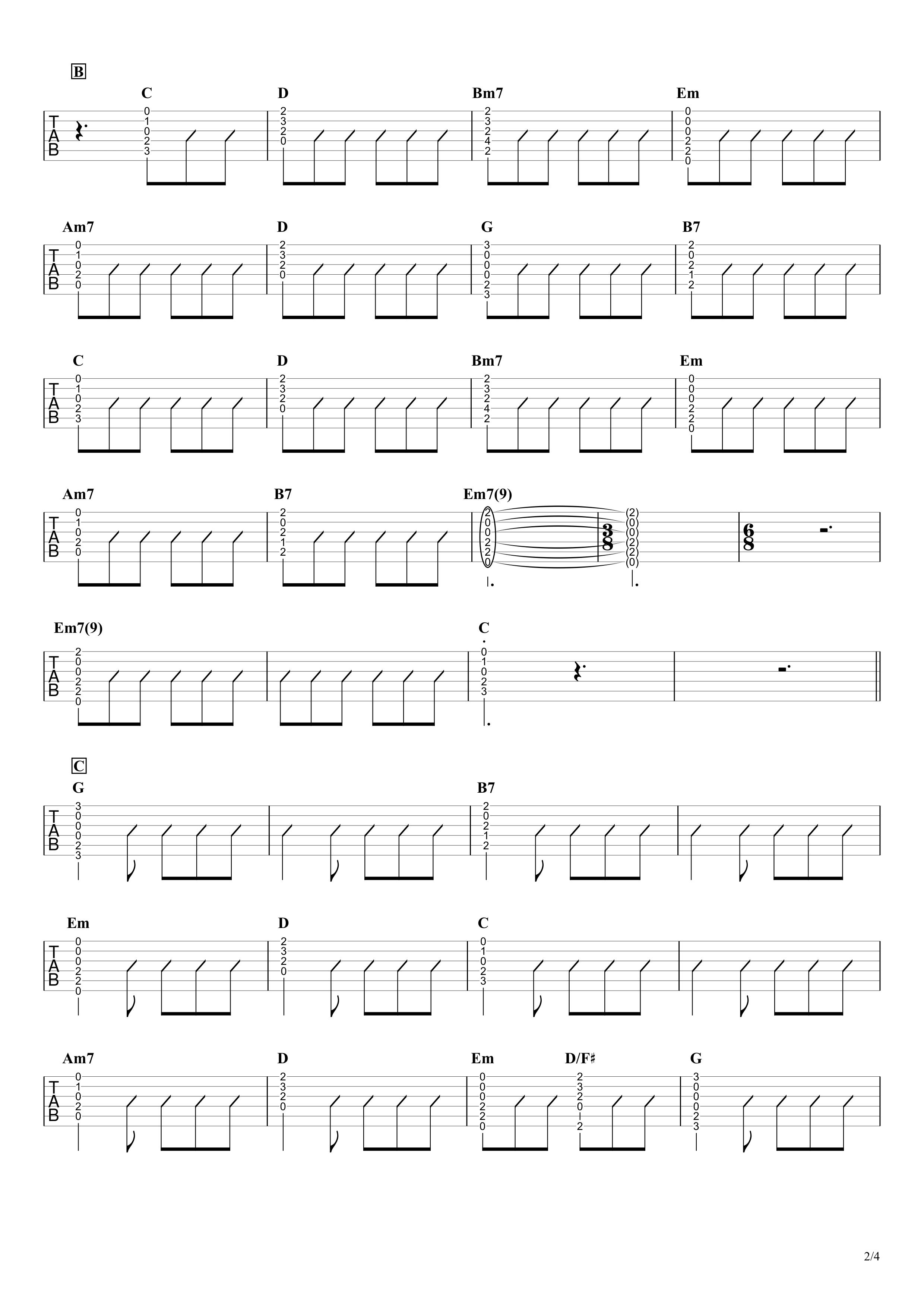 MOTEL/B'z ギタータブ譜 アコギイントロ完コピ&コードストロークで弾くVer.02