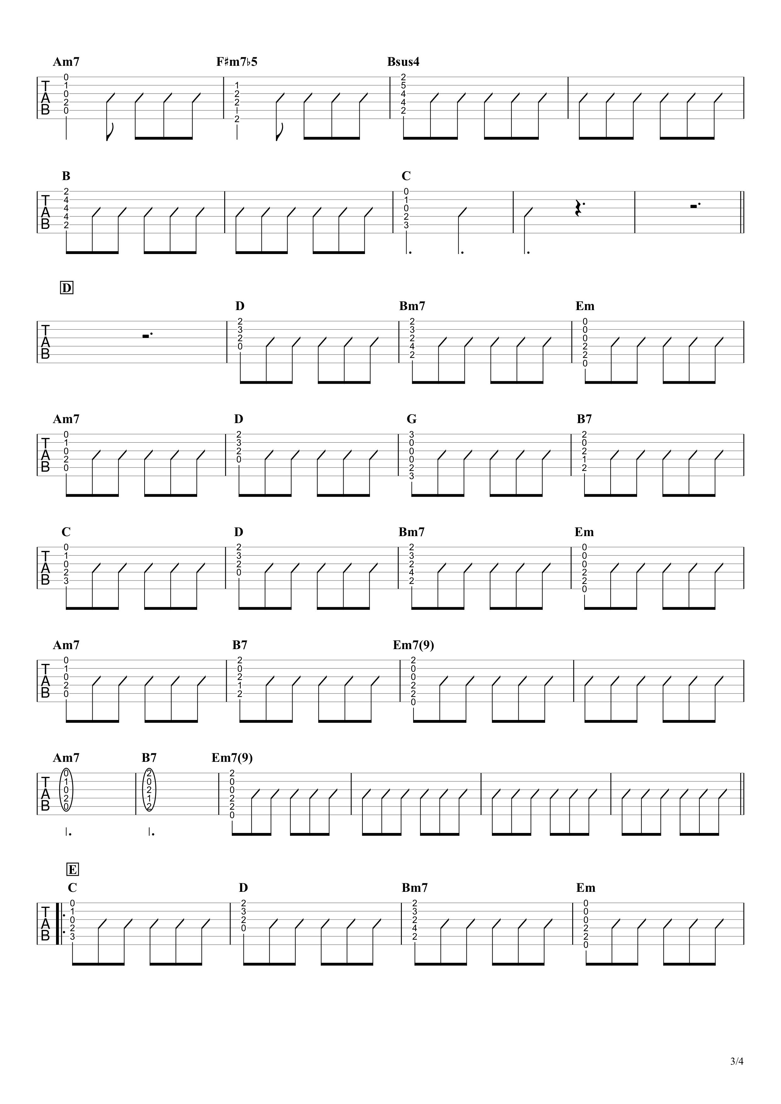 MOTEL/B'z ギタータブ譜 アコギイントロ完コピ&コードストロークで弾くVer.03