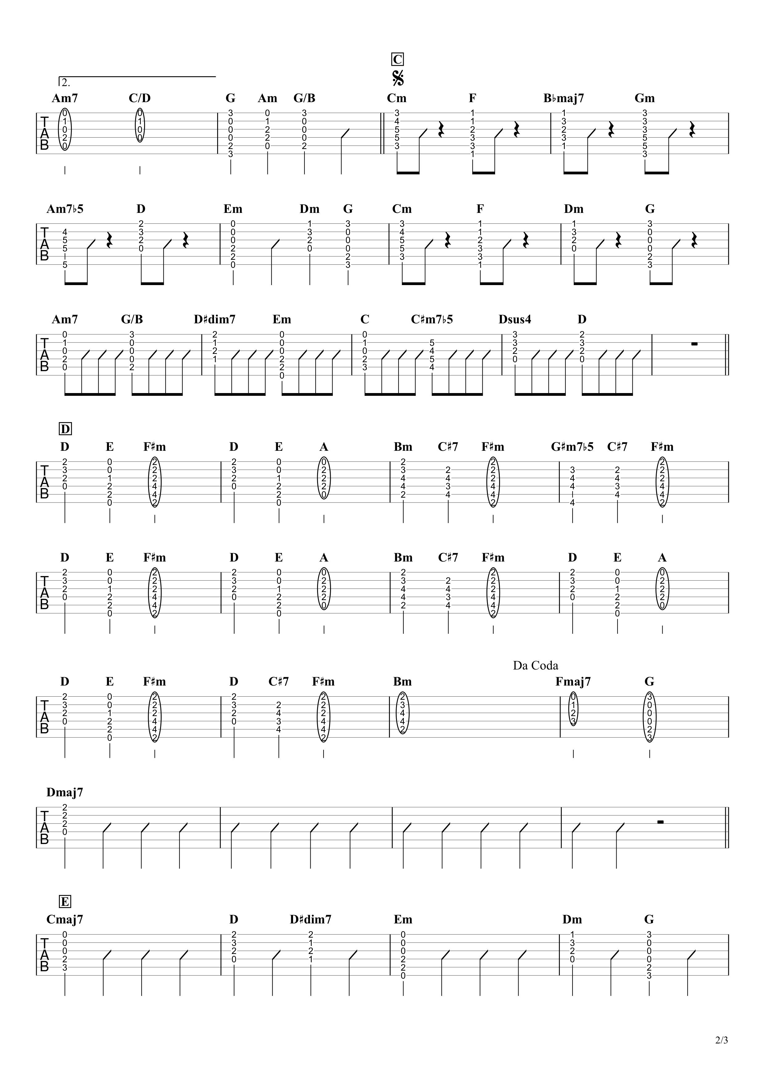 Pale Blue/米津玄師 ギタータブ譜 コードストロークで弾くVer.02
