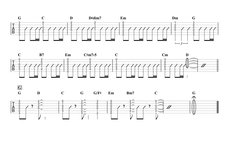 ひまわりの約束/秦基博 ギタータブ譜 簡単コードストロークで弾くVer.03