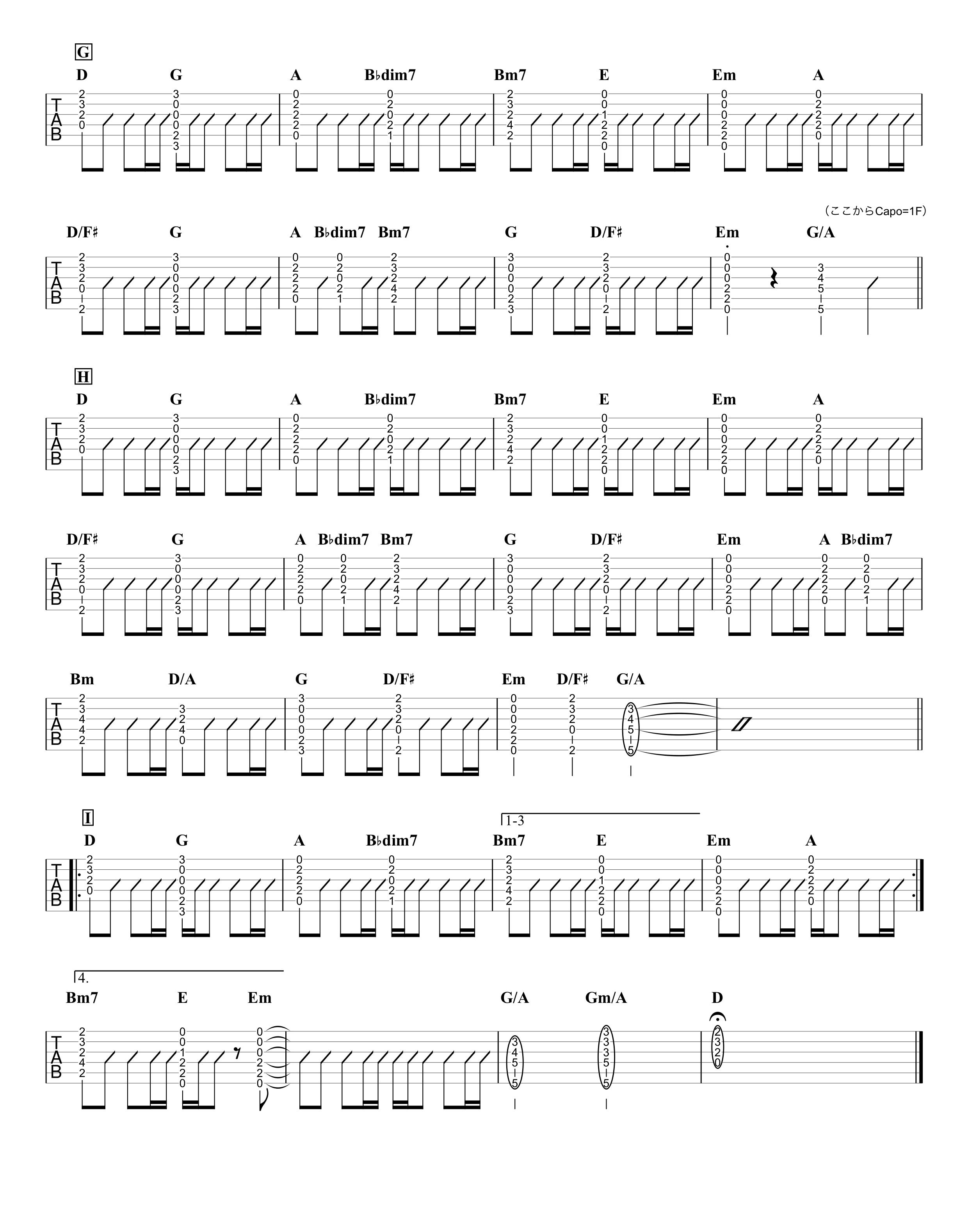 宝物/wacci ギターTAB譜 コードストロークで弾くVer.03