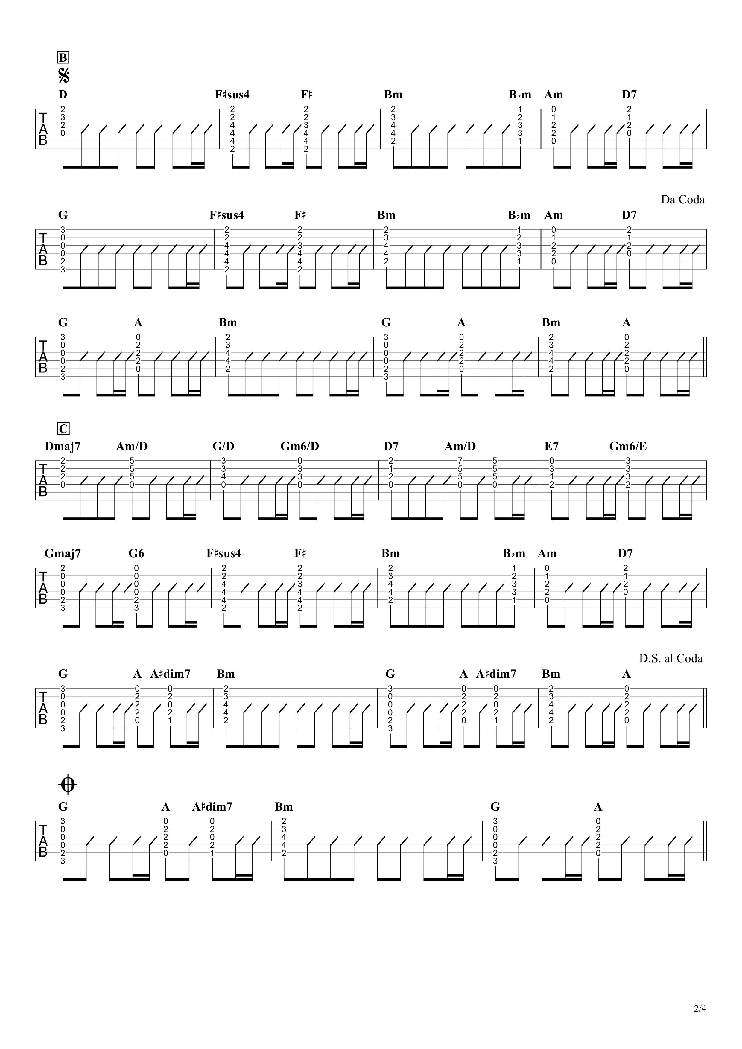 ありあまる富/椎名林檎 ギタータブ譜 アコギパートほぼ完コピVer.02