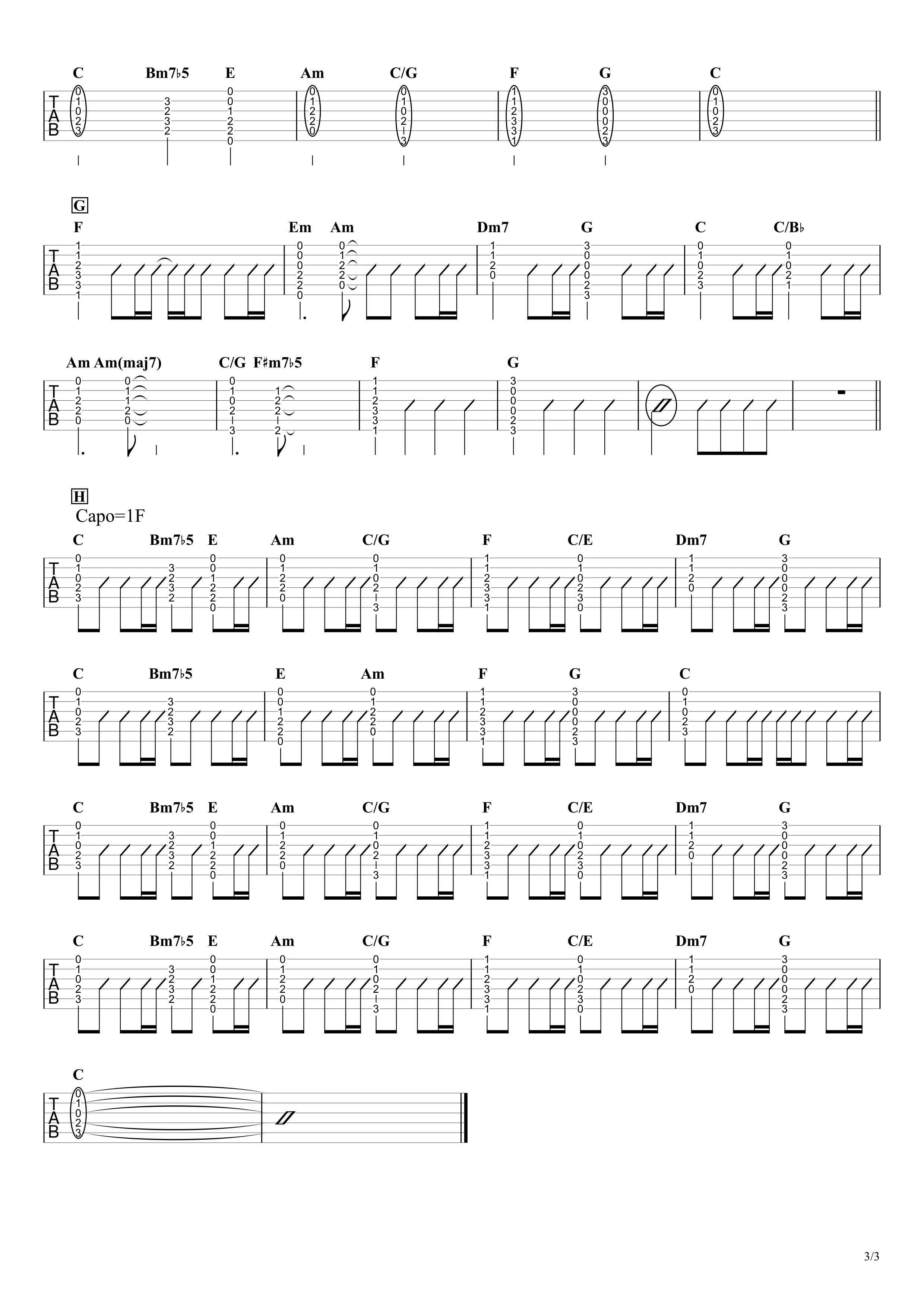 ライオン/ベリーグッドマン ギタータブ譜 アコギで弾くコードストロークアレンジVer.03