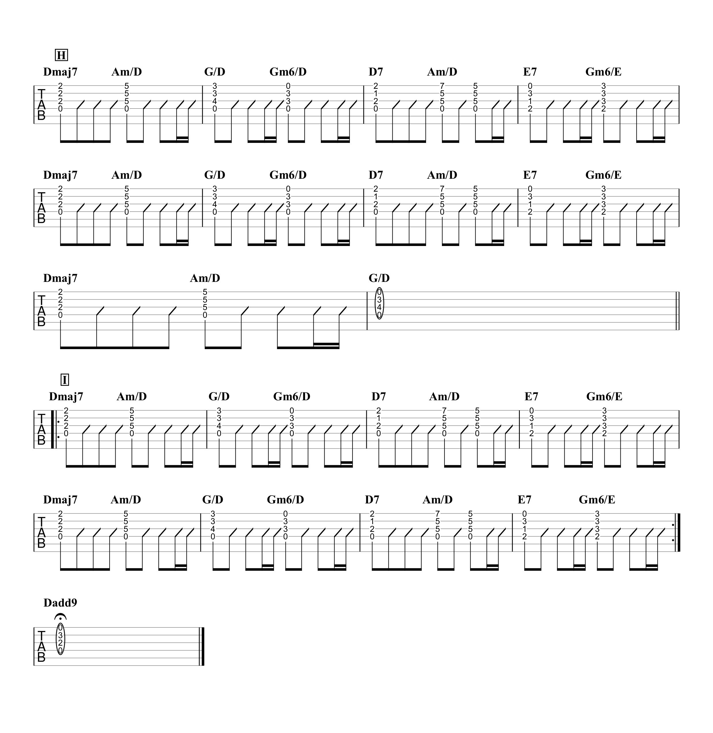 ありあまる富/椎名林檎 ギタータブ譜 アコギパートほぼ完コピVer.04