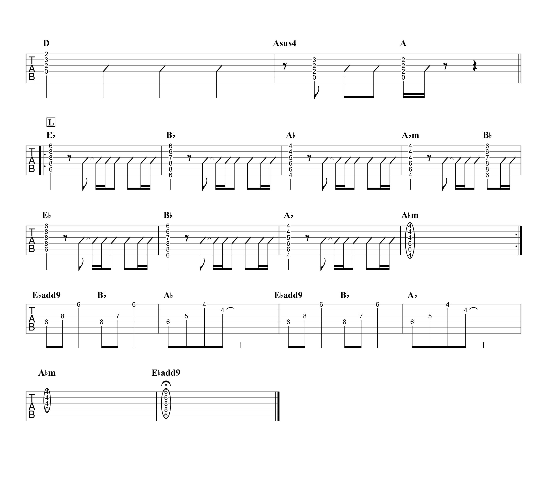 纏/TENSONG 無料ギターTAB譜 アコギパートほぼ完コピVer.04